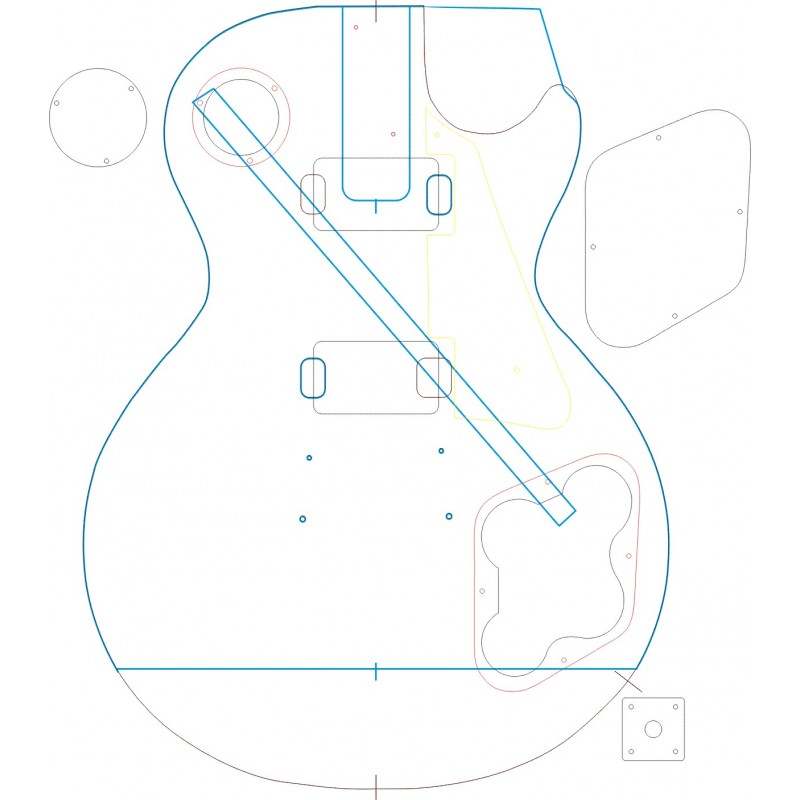 1959 les paul body routing template set for Les paul top carving template
